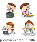 Set of expressions emotions, funny cartoon style illustration 003 55689063