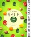 Tropical background for sale poster, banner design 004 55689080