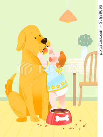 Cute little child with puppy illustration 002 55689098