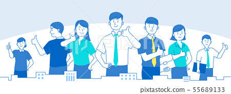 Teamwork concept, business people working in office illustration 014 55689133
