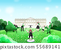 Summer festival, Summer outdoor scene with hand drawn painting 002 55689141
