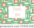 Thank you card retro style. Scandinavian style Thanksgiving card with abstract shapes. Vector 55695268