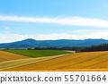 雪山和农村风景农田与浩大的蓝天和白色云彩的春天图象 55701664