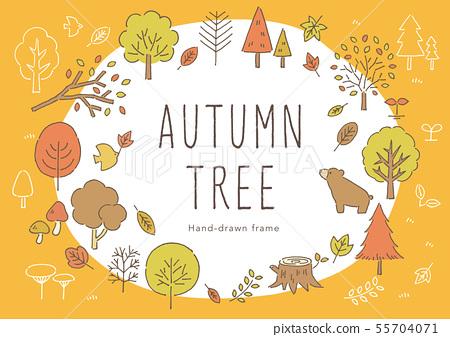 나무의 펜화 프레임 55704071