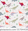 Cute dinosaurs and leaves seamless pattern 55704438