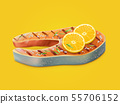 Cooked and flavored salmon steak realistic vector 55706152