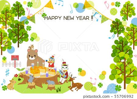 兒童年的逗人喜愛的新年卡片模板 55706992