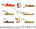 Set of images of vegetables chopped with a knife and grated. Vector illustration on a white 55708379