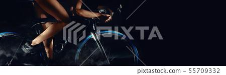 Horizontal image digital art woman on bicycle 55709332