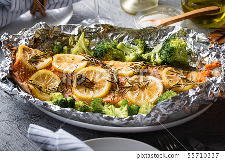 grilled whole salmon fillet with lemon and 55710337