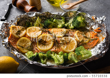grilled whole salmon fillet with lemon and 55710338