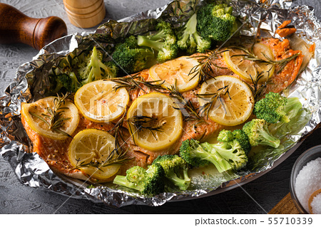 grilled whole salmon fillet with lemon and 55710339