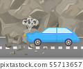 Car crash and accidents on road vector illustration. Damaged and broken automobile scene of carsh 55713657