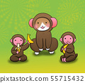 Zodiac signs and New Year's cards (monkey and cat illustration wearing monkey costumes) 55715432