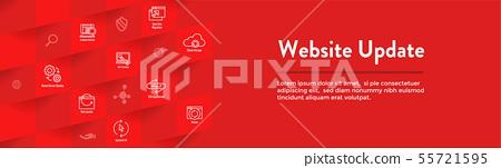 Website Update Icon Set with Web Header Banner 55721595
