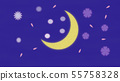 Flower pattern floating in the crescent moon sky 55758328