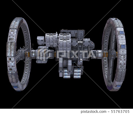 Future Space Station Isolated on Black Background 3D Illustration 55763705