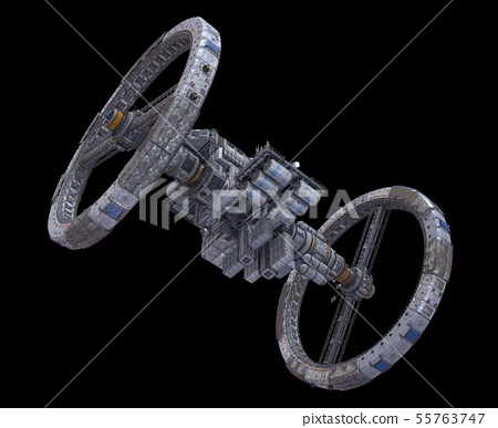 Future Space Station Isolated on Black Background 3D Illustration 55763747