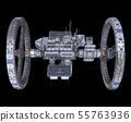 Future Space Station Isolated on Black Background 3D Illustration 55763936