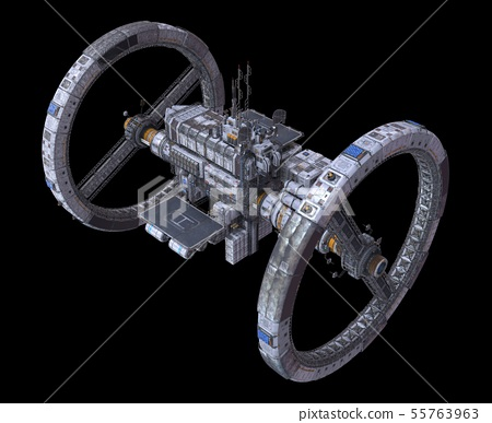 Future Space Station Isolated on Black Background 3D Illustration 55763963