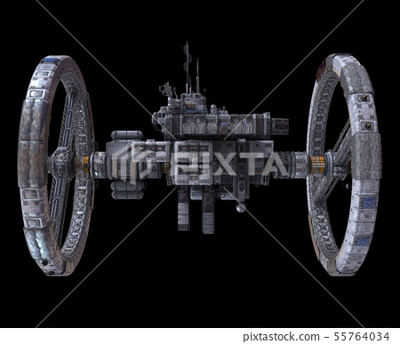 Future Space Station Isolated on Black Background 3D Illustration 55764034