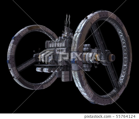 Future Space Station Isolated on Black Background 3D Illustration 55764124