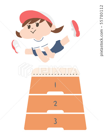 A girl wearing a jumping box (white hat) 55780112
