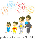 Young family launch fireworks 55780287