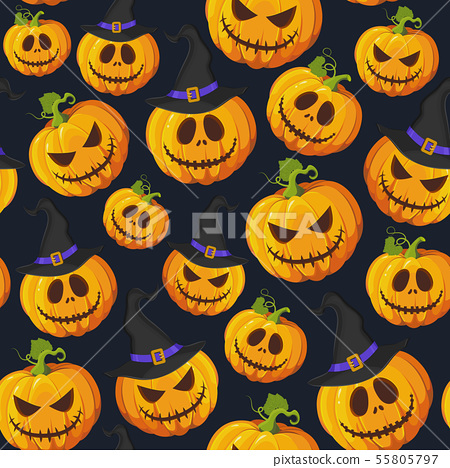 Halloween pumpkin seamless pattern on black 55805797