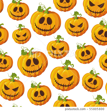 Halloween pumpkin seamless pattern on white 55805800