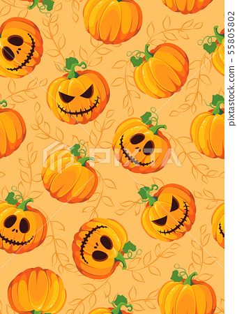 Halloween pumpkin seamless pattern on orange 55805802