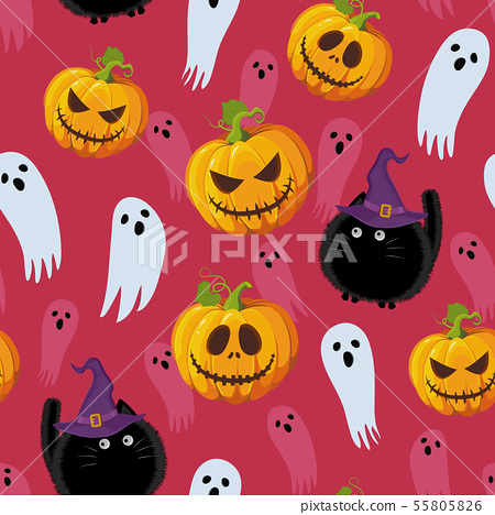 Halloween seamless pattern on red pink background. 55805826