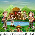 Group of young scout girls and boys are exploring  55808166
