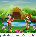 The explorer girls at the campsite 55808169