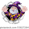 Wizard Mascot Breaking Through Background Cartoon 55827264