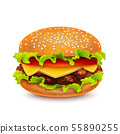 Isolated Hamburger on White Background in Realistic Style 55890255