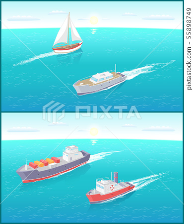 Water Transport Ferry and Sailing Boat Vector 55898749