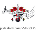 Rock n Roll Forever, Electric Guitar with Roses 55899935