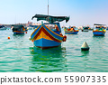Taditional eyed boats Luzzu in Marsaxlokk, Malta 55907335