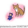 Illustration of a cat staring at a cat toy (pink background) 55907367