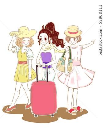 바캉스 여성 그룹 55908111