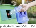 Hand throw plastic bottle waste into trash bin 55908351