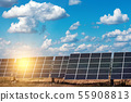 solar panels on the sky background 55908813