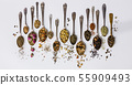 Assortment of dry tea in vintage spoons 55909493