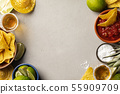 Mexican food and tequila shots, flat lay 55909709