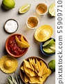 Mexican food and tequila shots, flat lay 55909710