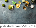 Gold tequila with lime and salt, flat lay 55909714