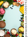 Tropical fruits and plants with variety of ice cream in coconut shells 55909741