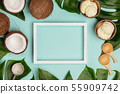 Creative flat lay with coconut ice cream and tropical plants 55909742