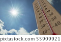Outdoor thermometer reaches 5 five degrees centigrade. Weather forecast related 3D rendering 55909921